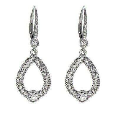 """Leslie Greene Sterling Silver Cubic Zirconia """"Mia"""" Open Drop Earrings HSN $55"""