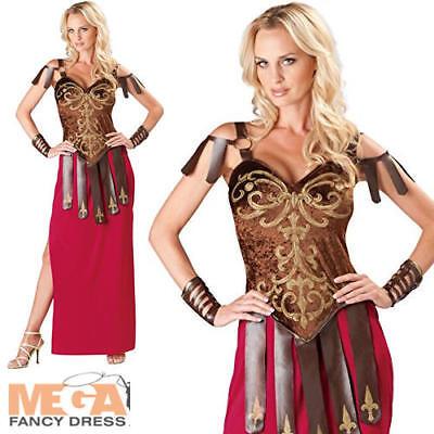 Gorgeous Gladiator Ladies Fancy Dress Roman Spartan Warrior Womens Adult Costume