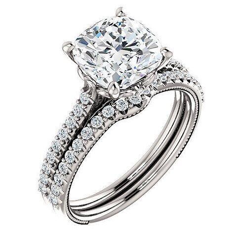 2.30 ct. U-Pave Cushion Cut Diamond Engagement Set GIA G, VVS1 Lifetime Warranty