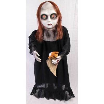 Zombie Girl with Teddy Bear Halloween party decor creepy Animated 3 ft - Bear Halloween Party