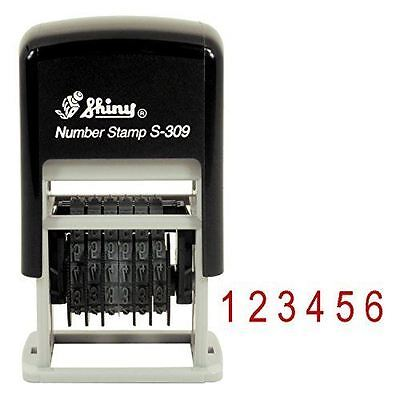 Shiny Self Inking 6 Band Rubber Numbering Stamp S-309 Red Ink