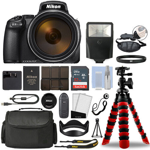 Nikon Coolpix P1000 16MP 4K Digital Camera with 125x Optical Zoom + 32GB Bundle