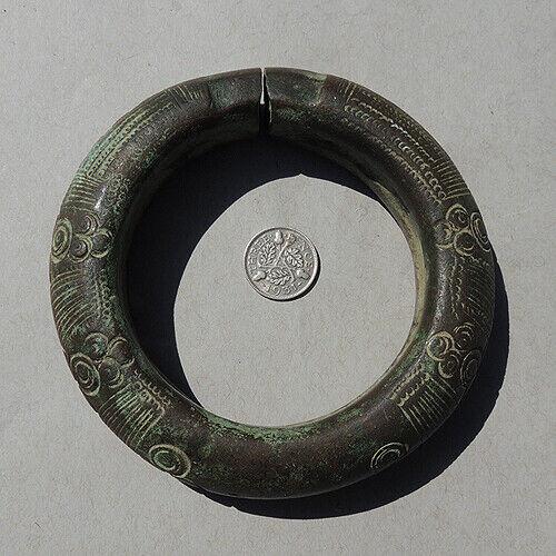 a bronze decorated old antique african bracelet nigeria #178