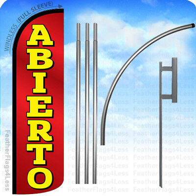 Abierto - Windless Swooper Flag Kit Feather Banner Open Sign - Rq