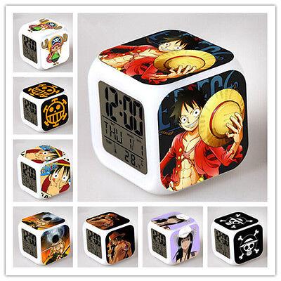 Anime ONE PIECE Alarm Clock 7 Color Change Night Light LED Digital Kids Gift Toy