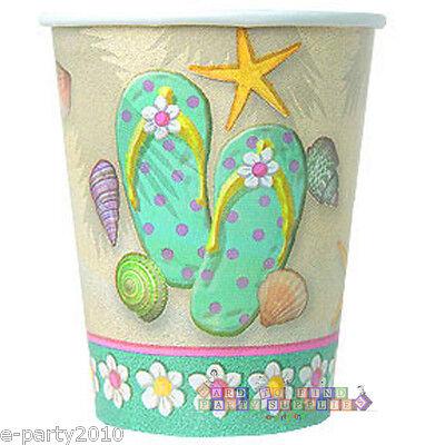 Flip-flop Party Supplies (SUMMER Flip Flop Beach 9oz PAPER CUPS (8) ~ Birthday Party Supplies Beverage)
