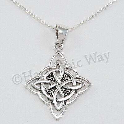 "WITCH'S CELTIC PROTECTION KNOT Pendant Wiccan 925 Sterling Silver 18"" Necklace"