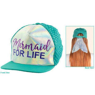 MERMAID FOR LIFE DELUXE BASEBALL HAT for ADULTS ~ Birthday P