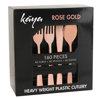 160 PC Disposable Rose Gold Plastic Silverware Set - Fancy Cutlery - Gold Plastic Silverware
