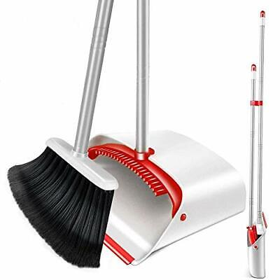 """Upright Broom and Dustpan Set with 52"""" Long Handle Easy to Store Dust Pan Bro..."""