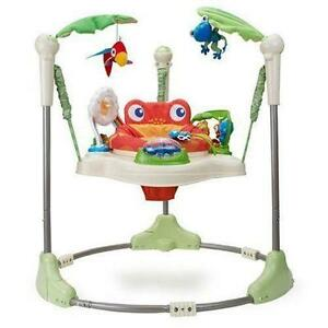 Jumperoo baby bouncer and in good used condition. fisher price rainforest roaring jumperoo, fisher price kick n play piano gym, red kite baby walker, baby gym mat.. used roaring rainforest jumperoo - used but in great condition.