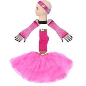 80'S party Dance girl's S/L Hotpink TUTU 4 Set Headband SKIRT LEG Homebush West Strathfield Area Preview