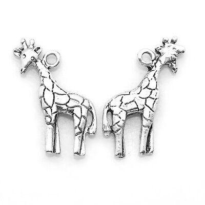 Packet 12 x Antique Silver Tibetan 22mm Giraffe Charm/Pendant ZX07470