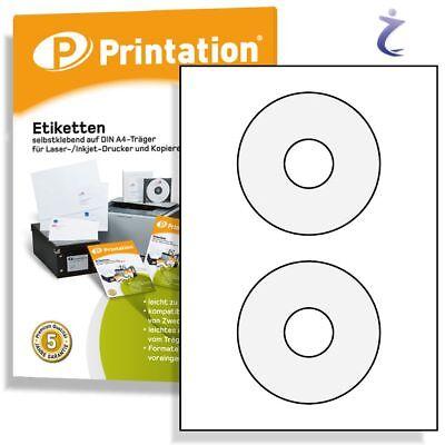CD DVD Etiketten Label - 10 Blatt A4 - 20 Stück - weiß