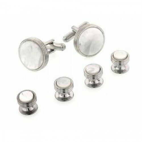 Concentric Edge Mother of Pearl Cufflinks + Studs Gold