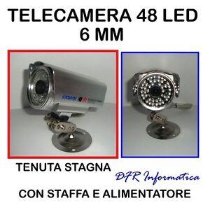 TELECAMERA-48-LED-INFRAROSSI-CCD-6MM-TENUTA-STAGNA-1-3-SONY-VIDEOSORVEGLIANZA