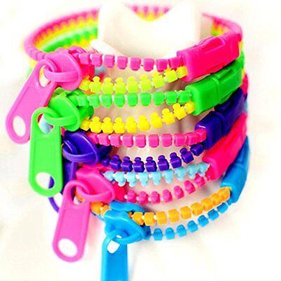 German Trendseller® - 12 x Neon Reißverschluss Armbänder Mix für Kinder