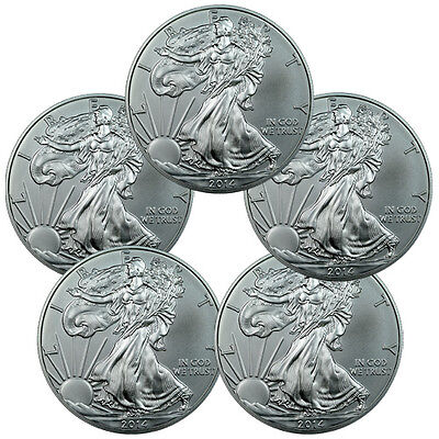 Lot of 5 - 2014 1 Troy Oz .999 Fine Silver American Eagle Coins SKU30461