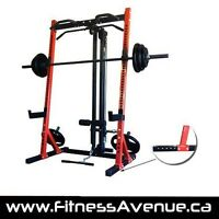 Am Staff half rack system with lat pull down attachment.