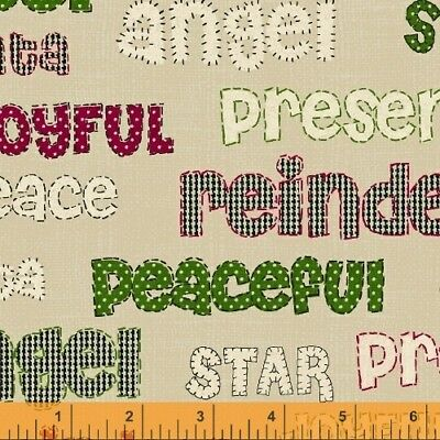 Craft Paper Christmas Fabric - Red & Green Holiday Words Tan - Windham 1.86 Yard Fabric Craft Papers