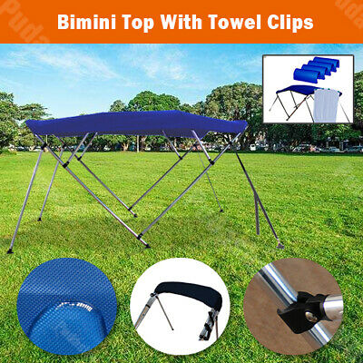 4 Bow Boat Bimini Top Canopy Cover 8 ft Free Clips 79''-84'' Support Poles (Bimini Boat Covers)