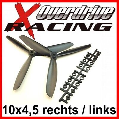 3-Blatt Luftschraube / Propeller 10x4,5 rechts & links (CW & CCW) SCHWARZ ()