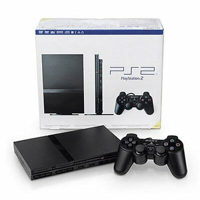 LIKE NEW Black Sony PS2 PlayStation 2 Slim Console System Complete Bundle Lot