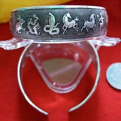 Very Big Tibetan Delicately Carved 12 Zodiac Animal Arch Shaped Cuff Bracelet