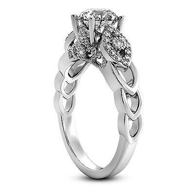 1 CT ROUND CUT DIAMOND D/VS2 ENGAGEMENT RING 14K WHITE GOLD ENHANCED