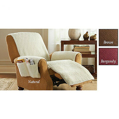 SNUGGLE Poly Fleece Comfort Recliner Cover with 4 Pockets NEW 2 TYPES! 4 (Fleece Recliner Cover)
