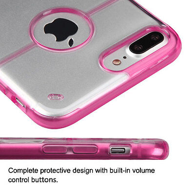 (For iPhone 7+ / 8+ PLUS - Hard Premium TPU Gummy Case Cover Pink / Crystal Clear)