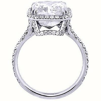 1.95 Ct. U-Setting Emerald Cut Halo Diamond Engagement Ring  E,VS2 GIA 1