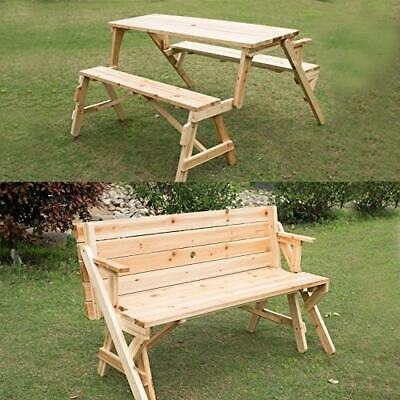 Outsunny 3 Piece Folding Convertible 2-in-1 Picnic Table Brown Convertible Picnic Table Bench