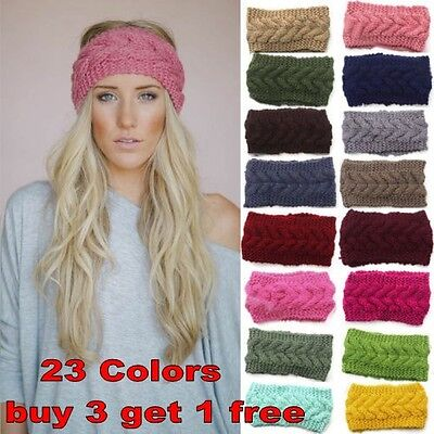 Women Crochet Headband Knit Flower Hairband Ear Warmer Winter Headwrap Fashion