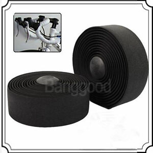 2-X-Bike-Bicycle-Cycle-Cork-Handlebar-Handle-Bar-Tape-Wrap-2-Bar-Plug-Black-New