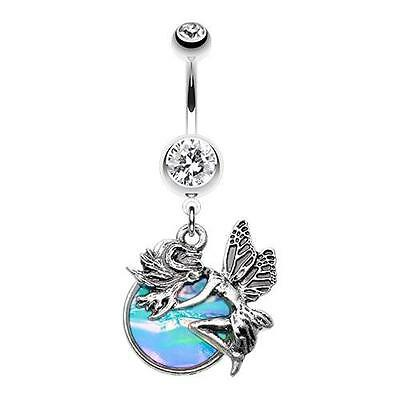 Opal Mystique Fairy Belly Button Ring Pixie CZ Pink Body Jewelry Sexy Banana Fun Fairy Belly Ring Body Jewelry