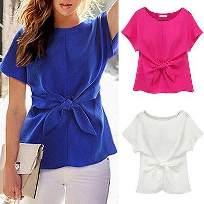 Tie Front Chiffon Blouse - Women's Short Sleeve Crewneck Tie Front Bow Chiffon Blouse Tops Shirt Happy