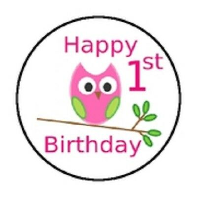 48 HAPPY BIRTHDAY 1ST PINK OWL STICKER LABEL ENVELOPE SEALS 1.2