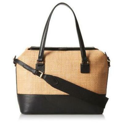 New Isaac Mizrahi New York Anita Satchel Straw Leather Black