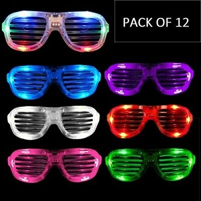 Light Up Shutter Shade Sunglass w/ Flashing LED Settings Bulk (Pack of 12) - Led Sunglasses Wholesale