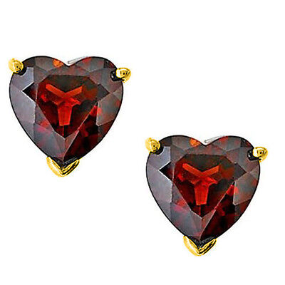 1.00 - 3.00CT 14K SOLID YELLOW GOLD HEART GARNET SCREW BACK STUD EARRINGS BASKET 14k Garnet Heart Earrings