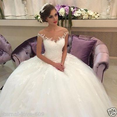 New Lace White/ivory Wedding Dress Bridal Gown Custom Size 6-8-10-12-14-16-18