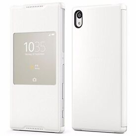NEW OFFICIAL SONY SCR42 XPERIA Z5 STYLE COVER WINDOW FLIP FOLIO CASE STAND WHITE
