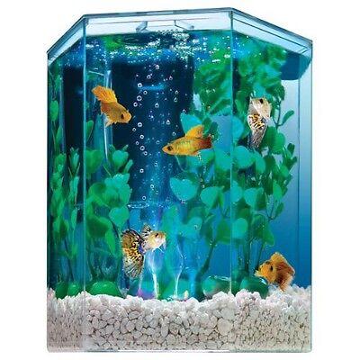 -Used- Tetra 29040 Hexagon Aquarium Kit, Food and Dark Gravel