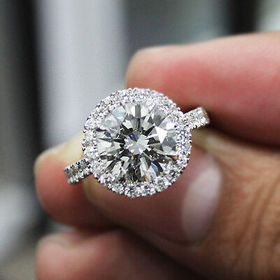 2.90 Ct. Natural Round Cut Halo Pave Diamond Engagement Ring - GIA Certified