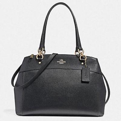 New Coach F25926 Leather Brooke Large Satchel Handbag Shoulder Purse in Black