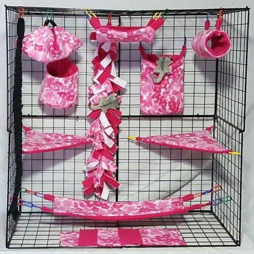 Pink Flowers *15 PC Sugar Glider Cage set * Rat * double layer Fleece