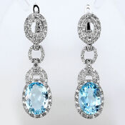 Blue Topaz 925 Silver Earrings