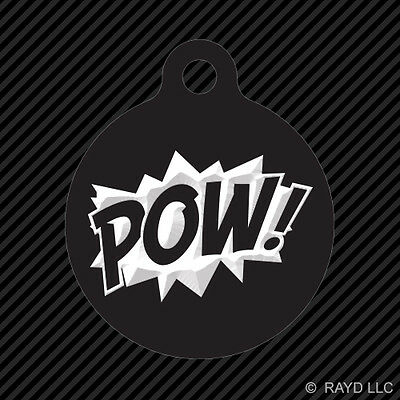 POW! Superhero Keychain Round with Tab dog engraved many colors comic style