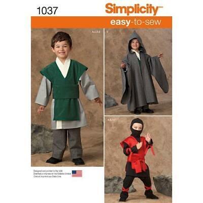 Simplicity Pattern 1037 Unisex Easy To Sew Ninja ,Wizard Cosplay Costumes 3- - Easy Ninja Costumes